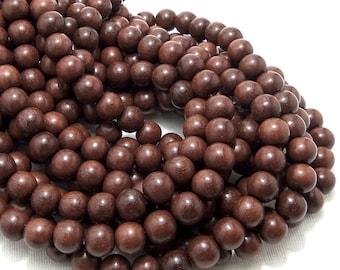Magkuno Wood, 10mm, Dark, Round, Smooth, Natural Wood Beads, Large, Full Strand, 44pcs - ID 1373-DK