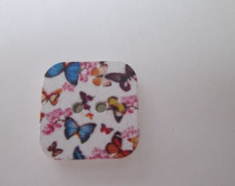 x 5 square 17 x 17 mm butterflies design wood buttons