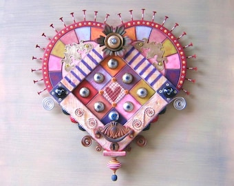 Victorian Secrets, Original Found Object Wall Sculpture, Wood Carving, Valentine, Wall Decor, Heart Wall Art, by Fig Jam Studio