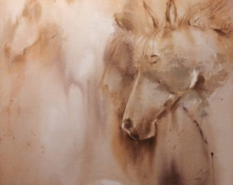 Original Impressionistic Horse painting done in neutral tones
