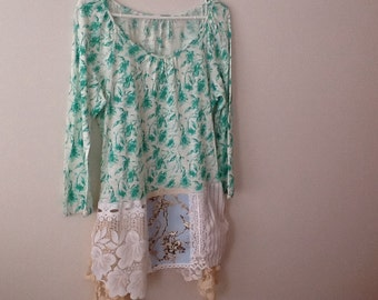 Floral Lace Tunic Upcycled Clothing Refashioned Shabby Boho Romantic Victorian French Repurposed Tee Top. Women's Size Medium to Large.