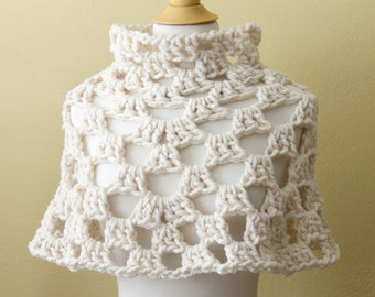 Crocheted Chunky Cream Capelet. Poncho. Cowl.