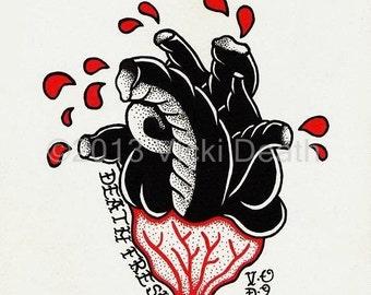 Death Fresh Heart Original Tattoo Art