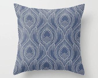 Navy Pillow Cover Scroll Pillow Throw Pillow Decorative Pillow Size Choice
