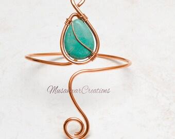 Copper Arm Cuff ,upper arm cuff ,turquoise stone copper arm cuff, braceletcuff , Arm band, armcuff