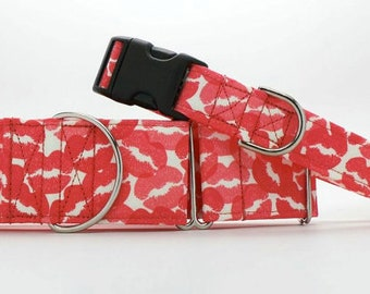 Covered in Kisses CANVAS Dog Collar (Martingale, Buckle, or Tag)