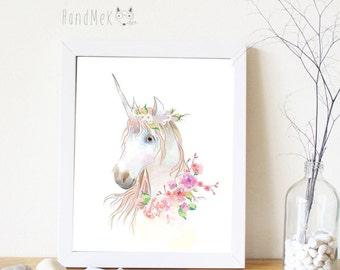 Unicorn Art Printable ,Animals Art Printable, Digital Art Printable, animal clipart, Instant Download Art