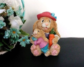 "Vintage Mother Easter Bunny with Baby, Easter Rabbit figurine, Bunny home decor, 1990s, K's Collectibles, 4"" tall"
