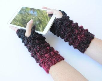 Black & Red Faux Bobble Fingerless Gloves, Crochet Gloves, Writing Gloves, Wrist Warmers, Reading Gloves