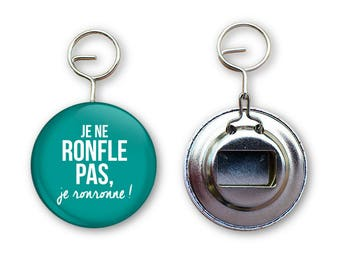 """Original quote """"I don't snore I purr"""" bottle opener key ring"""