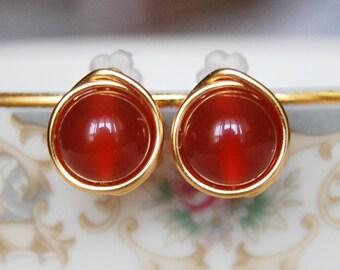 Carnelian Stud Earrings , Bridesmaid Earrings , Red Orange Earrings , Wire Wrapped Studs , Fall Earrings