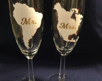 Country toasting flutes (set of 2)