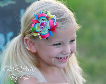 Back To School Hair Bow - Preschool Hair Bow - Pre K Hair Bow - Pink Green Blue Yellow Hair Bow - YOU PICK BOTTLECAP