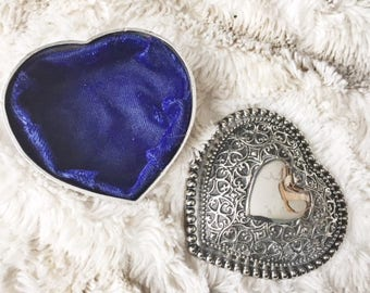 Vintage silver heart jewelry box with blue velvet lining ~~ Trinket box ~~ Heart collector ~~