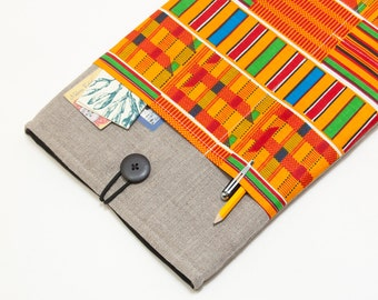"30% OFF SALE Dark Linen MacBook 11"" Case with African Kente Style pocket. Case for MacBook 11 Air. Sleeve for MacBook Air 11 inch."