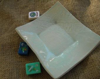 Mahjong Dish - Mahjong Pottery - Oriental Tableware - Mahjong Snack Plate - Oriental Dish - Unique Pottery - Blue Pottery - Mahjong Plate