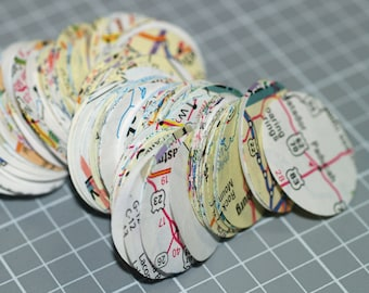 Map Circles (300) ... One Inch Rounds . Recycled . Upcycled . Colorful . Cities . Punched . United States . Garland . Scrapbooking . Journal