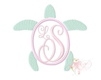 Preppy Turtle Applique Design Machine Embroidery Frame  BX instant download Sea Turtle 4x4 5x7 6x10