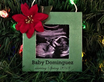 Christmas pregnancy announcement grandparents first christmas ornament handmade picture frame, ultrasound ornaments