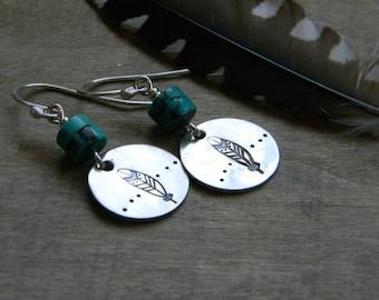 Turquoise jewelry feather earrings sterling silver and turquoise earrings hand stamped jewelry southwestern style earrings western jewerly