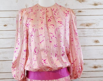 80s Pink Silk Party Dress!