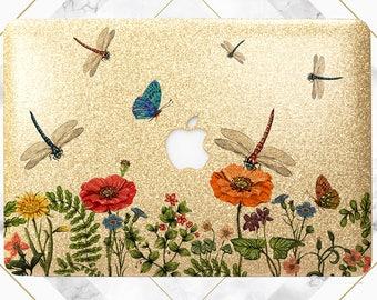 Macbook case dragonfly Gold glitter case Dragonfly case Wildflowers case Macbook glitter case Macbook gold case Macbook air case Macbook