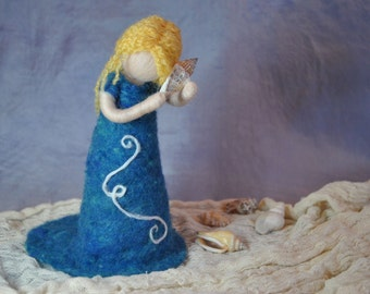 Waldorf inspired needle felted doll: Sea-shell fairy