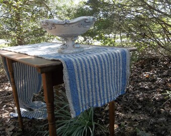 Natural Linen Runner Blue Stripe Linen Table Runner Handmade Wedding Decorations Table Decor French Country Farmhouse 13x96