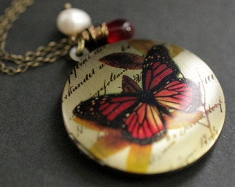 Fire Butterfly Necklace. Butterfly Locket Necklace with Red Teardrop and Fresh Water Pearl. Handmade Jewellery.