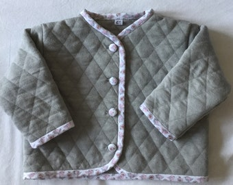 T-6 month grey jersey quilted vest