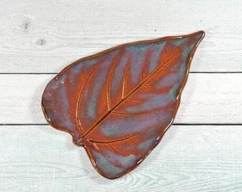 Ceramic Leaf Spoon Rest - Soap Dish - Trinket Tray