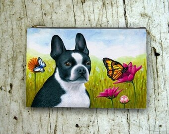 Cosmetic Bag Pouch Accessory for Purse Dog 134 Boston Terrier Butterfly art painting by Lucie Dumas