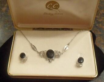 Vintage Signed Sterling Silver Black Jewel Necklace Earring Set