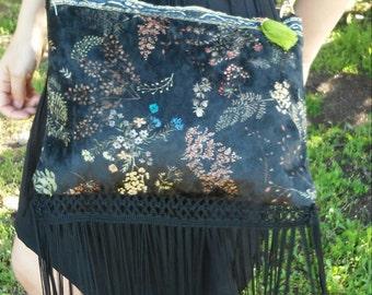 Velvet bohemian bag