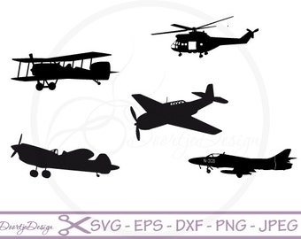 Airplanes cutting files, Silhouette Airplane, SVG cutting files, Scrapbook Airplane, DXF files airplanes Clipart, svg files for cricut