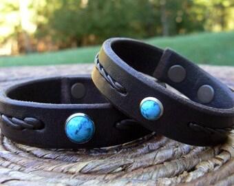 REYES Leather Bracelet, Men's Women's Turquoise Bracelet, Braided Bracelet, Native American Style Cuff, Boho Wrist Band, Bohemian Jewelry