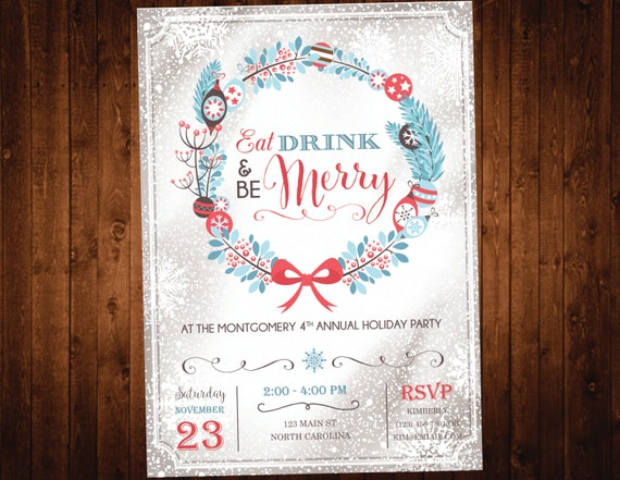 Christmas Party Invitation / Eat Drink And Be Merry Holiday Party Invite / Rustic Christmas Invitation / Printable Invite