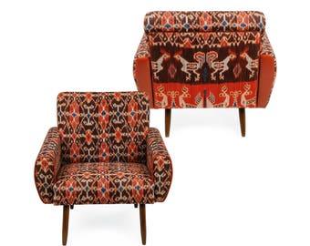 Pulau vintage ikat reupholstered chairs, scandinavian furniture