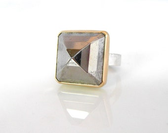 Pyrite Pyramid Ring, Handmade Pyrite Statement Cocktail Ring with Silver and 14k Gold, Handcrafted Grey Gemstone Ring