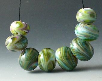 Perles/SRA Murano lampwork/perles/bleu/vert/mousse /