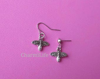Silver Honey Bee Earrings, bee studs, bumble bee earrings, bee dangle earrings, bridesmaids dainty simple earrings, summer party jewelry