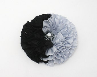 Small Silver and Black Millinery Flower Applique Yin Yang