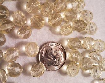 50 8mm Jonquil Yellow Faceted Czech Glass Firepolish Beads