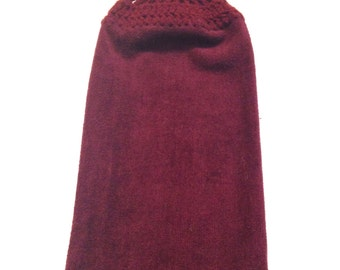 Hand Towel With Aubergine Crocheted Top