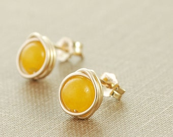 Lemon Yellow Post Earrings, 14k Gold Modern Minimal Jewelry, Stud Earrings
