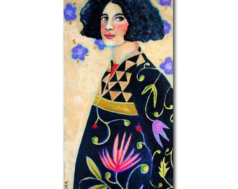 ORIGINAL tall acrylic painting WOMAN in floral coat 24x12 figure painting by TASCHA