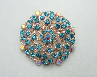 Aqua Blue Crystal Rhinestone Rose Gold Brooch,Crystal Rhinestone Rose Gold Jewelry Brooch,Bridal Bouquet Brooch, Wedding Sash Brooch