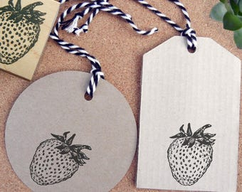 Strawberry Rubber Stamp - Handmade  by BlossomStamps