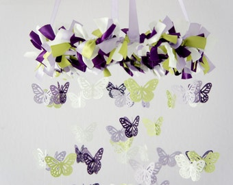 Butterfly Nursery Mobile in Purple Lavender Green & White- Photography Prop, Baby Shower Gift