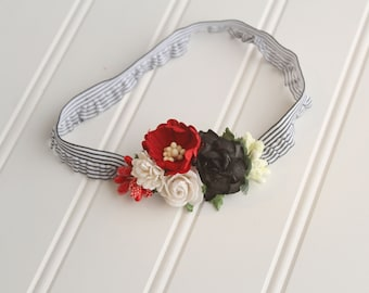 Gatsby - dainty headband in deep red, white, ivory and black (RTS)